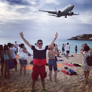 A busy day on Maho Beach.