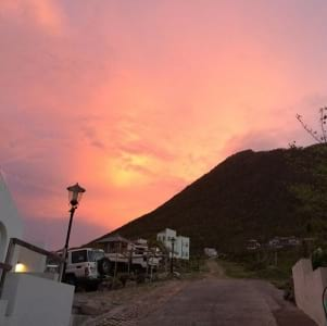 Beautiful pink sky in Statia.