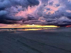 A picture of Pink and purple golden sunset on Fort Myers Beach
