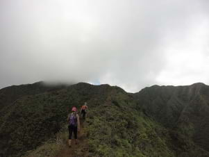 Literally in the clouds hiking on Stairway To Heaven in Oahu.