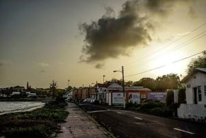 Iconic bay road in Basseterre.
