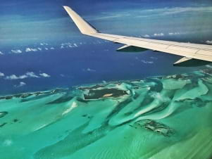 Flying in to the Exumas Bahamas
